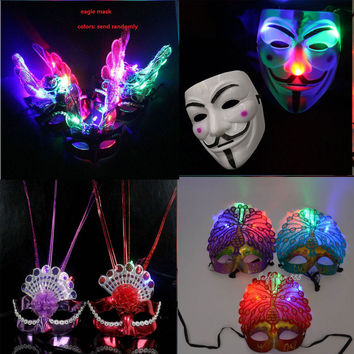 LED feather Mask party flash mask masquerade masks supplies glow light feather masks