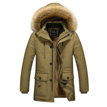 2016 new arrival men's thick warm winter down coat fur collar men parka big yards long cotton coat jacket parka men M-5XL