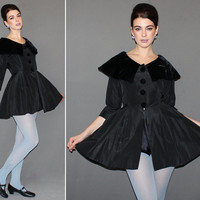 Vintage 50s Black PEPLUM Jacket / SILK TAFFETA + Black Velvet / Structured Light Jacket / Big Collar / Ballerina, Cocktail, Formal / Xs