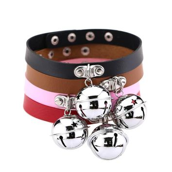New Arrival Punk Style Leather Small Bell Charm Choker Necklace For Women Gothic Club Collar Jewelry