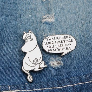 Trendy 2 pcs/lot novelty cartoon hippo letter metal brooch button pins denim jacket pin jewelry decoration badge for clothes lapel pins AT_94_13