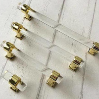 """3.78"""" 5"""" 6.3"""" Acrylic Dresser Pulls Clear Gold Drawer Knobs Pull Handles Glass Look Kitchen Cabinet Door Handle Pull Modern Knob 96 128 160"""
