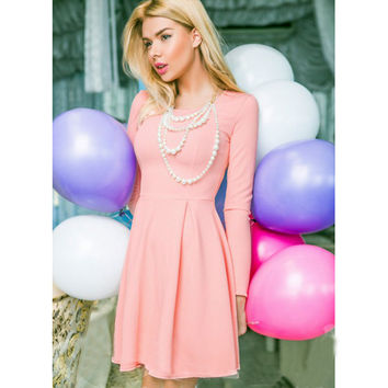 Autumn Dress Solid Color O-neck Office Dress Woman Slim A-line Long Sleeve Dress sexy Plus SizeParty Dresses Ukraine