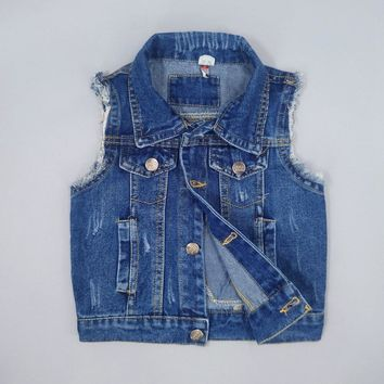 Trendy Chumhey 1-7T Baby Jeans Vests Spring Autumn Boys Girls Babe Jeans Jacket Denim Outerwear Toddler Clothing Clothes Kids Tops AT_94_13