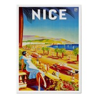 Nice France ~ Vintage French Riviera Travel Ad Print from Zazzle.com