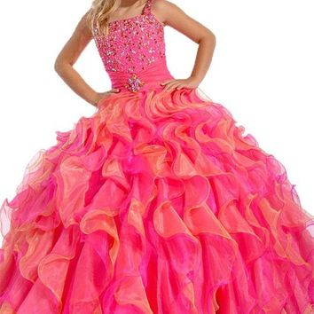 Y&C Girls' Flower Kids Party Gowns Sashes Beads Pageant Dresses