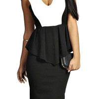 Color Block Sleeveless Paneled Peplum Dress