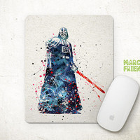 Darth Vader Mouse Pad, Star Wars Mousepad, Watercolor Art, Home Decor, Gift Idea, Art Print, Kids Desk, Office Supplies, Desktop Accessories