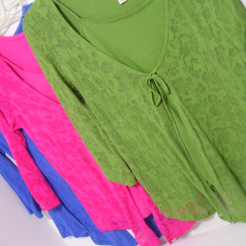 Women's Knit Tops Blouse  Royal Blue  Hot Pink  Fern Green  One Piece 2fer Look with front Burnout Overlay Select Options