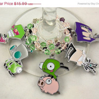 Invader Zim inspired wine glass charms set of 5 anime charms handmade wine charms party chibi JPOP wine charms