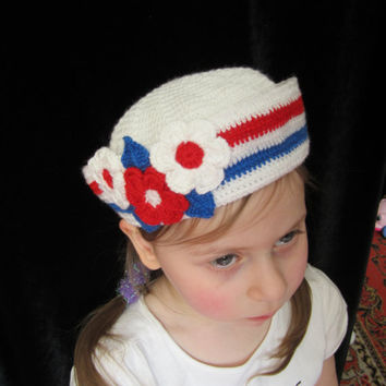 Crochet Girls Hat Sailor hat with Flowers by MILAVIKIDS on Etsy