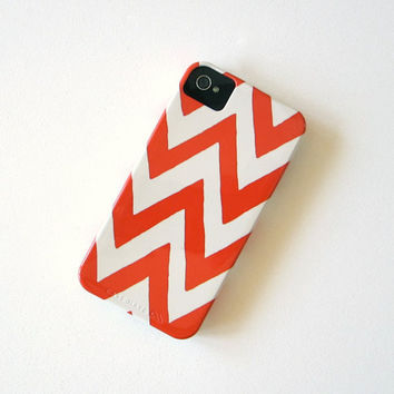 Chevron ORANGE IPhone 4/4s case Pattern by redtilestudio on Etsy
