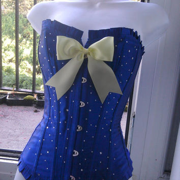 SNOW WHITE corset halloween costume steel busk 50s pin up gal electric BLUE n yellow big bow boned basque