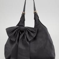 Leather Bow Hobo Bag, Black