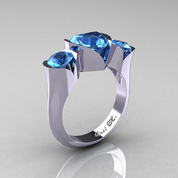 Nature Classic 10K White Gold 2.0 Ct Heart Blue Topaz Three Stone Floral Engagement Ring Wedding Ring R434-10KWGBT