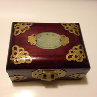 Rosewood Ornate Chinese Jewelry Box Jade Carved Inset Brass Cutout Butterfly Design Hinged Dovetail Shanghai
