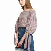 Red and Black Plaid Off The Shoulder Top