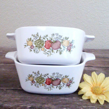 Vintage Corning Ware Spice of Life Mini Casserole / Pans, P-43-B, Set of Two