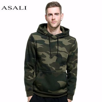 ASALI Camouflage Hoodies Men 2017 New Sweatshirt Male camo Hoody Hip Hop Autumn Winter Fleece Military Hoodie US Plus Size