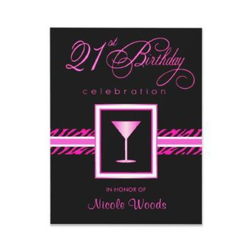 21st Birthday Party Invitations - Hot Pink Zebra from Zazzle.com