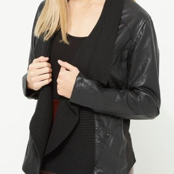 Black Faux Leather Ribbed Knit Collar Bomber Jacket