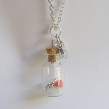 Key to My Heart Bottle Necklace Miniature Food Pendant - Miniature Food Jewelry
