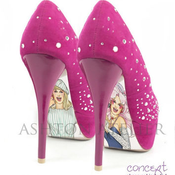 Custom hand painted Jem shoes by AshtonAtelier on Etsy
