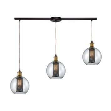 Bremington 3 Light Linear Bar Pendant In Tarnished Brass/Oil Rubbed Bronze With Clear Glass And Perforated Metal Cage