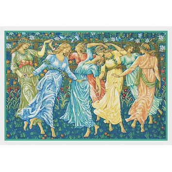 The Dancers Detail from the Ceremony by William Morris Counted Cross Stitch Pattern