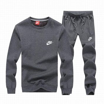 Nike Fashion Casual Plus Velvet Top Sweater Pants Trousers Set Two-Piece