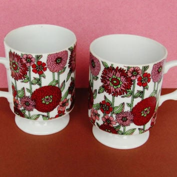 Vintage Coffee Mugs Tea Cups Holt Howard 7610 Pedestal Made In Japan Mid Century Kitchen Decor Pair Burgundy Pink Green Fall Floral