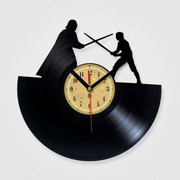 Vinyl Clock - Star Wars. Upcycling product made from vinyl records. Cool gift ideas for music lovers.