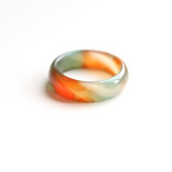 Natural Mixed Color Agate Band Ring 5mm. Stackable Gemstone Ring in Red, Green, Orange. Real Agate Band Ring. Natural Healing Agate Ring.