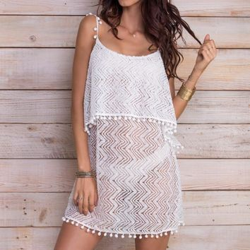 MAYLANA Giulia White Lace Dress