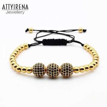 ATTYIRENA Men Bracelets Gold Color Beads& Micro Pave Black CZ Beads Hot Sale Briading Macrame Bracelet Women Men Jewelry