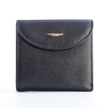 Molara-Saffiano Leather Mini Wallet-Black