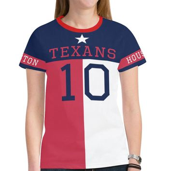 Houston Football #10 State of Texas Flag Women's Mesh Jersey T-Shirt