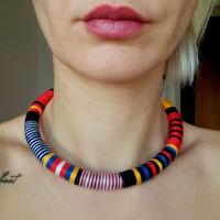 Tribal Necklace, Rope Necklace, Thread Wrapped Necklace, Choker necklace, Boho Choker, African Choker, African Jewelry African Necklace