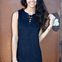 Sassy In Suede Lace Up Dress