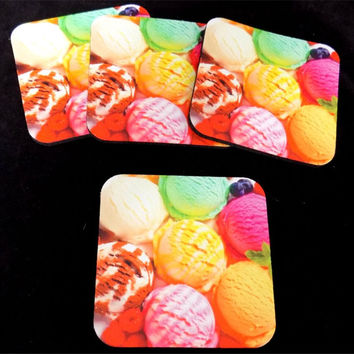 Ice Cream Dessert New Bar 4 Coaster Drink Set Wedding Favor Biker Gift COA-0063