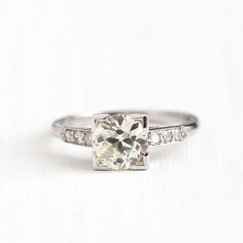 Antique Platinum Art Deco 1.01 CTW Diamond Ring - Size 4 1/2 1930s Vintage Fine Old European Engagement Bridal Wedding Jewelry w/ Appraisal