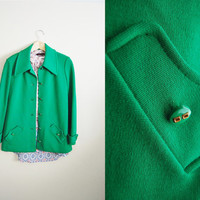 Vintage Womens 70s Green Wool Jacket Coat Flared Fall Trend Retro Royal Bright Green