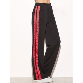 Side Striped Zip Pocket Wide Leg Pants