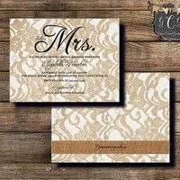 Mrs Bridal Shower Invitation, Bridal Shower, Lace invitation, Bridal Shower invitations, Rhinestone Invitation, Burlap and Lace