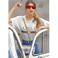 "Hot Sale ""Gucci"" Classic Letters Print Short Sleeve Round Collar T-Shirt Pullover Top White I"