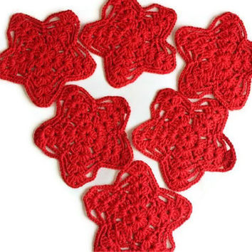 STARS - Set Of Six - Handmade Red Cotton Coasters