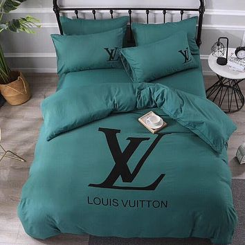 Dark Green Comfortable LOUIS VUITTON Soft Bedding Set Conditioning Throw Blanket Quilt For Bedroom Living Rooms Sofa