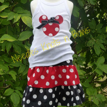 Girls Minnie Mouse Skirt Outfit, Girls Disney Outfit, Minnie Mouse Birthday