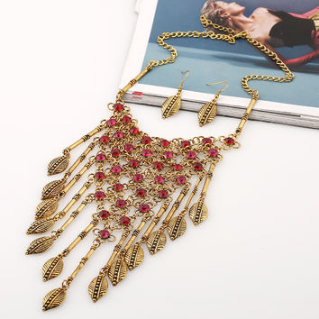 European Mesh Diamond Tassel Retro Leaves Necklace and Earring Set