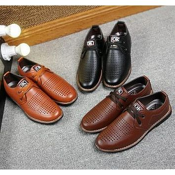 2017 summer new men's business casual mesh shoes breathable hollow dress casual sandals casual men's shoes